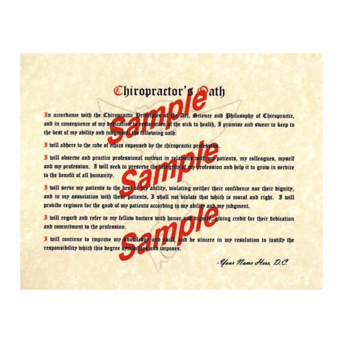 Chiropractic Oath Picture Landscape Ivory Parchment Paper