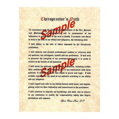 Chiropractic Oath picture antique ivory parchment paper