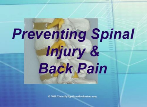 Chiropractic PowerPoint Preventing Spinal Injury DVD