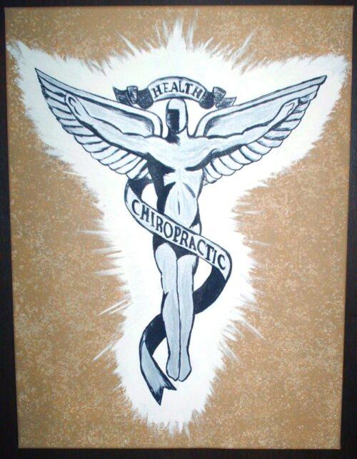 Chiropractic Wall Art Caduceus Painting Chiropractic Angel
