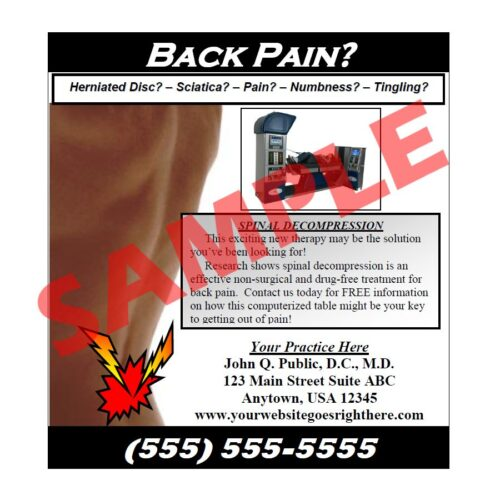 Spinal Decompression Marketing Advertising Kit Sample Template